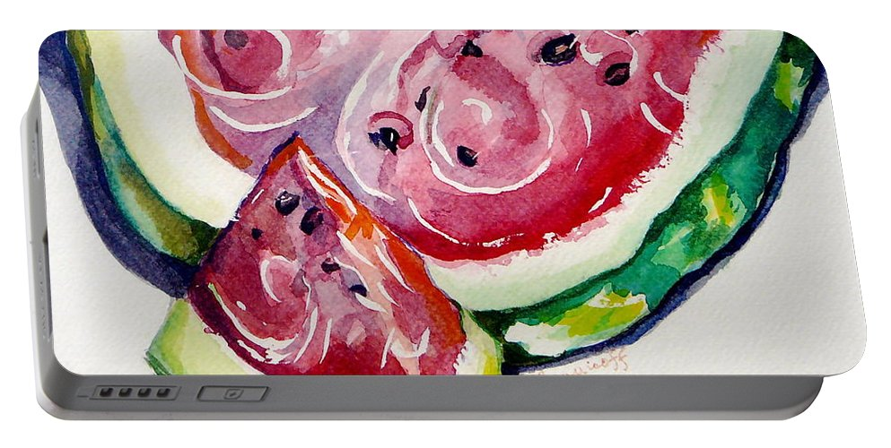 Still Life Portable Battery Charger featuring the painting Watermelon by Jan Bennicoff
