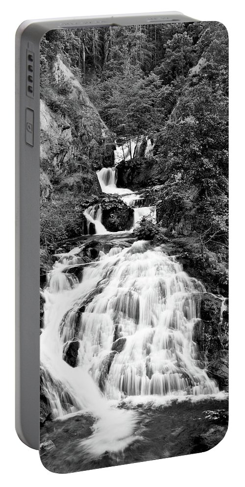 Water Portable Battery Charger featuring the photograph Water Slide Waterfall Bw by Matthew Battisti