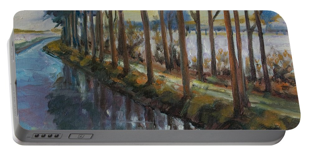 Trees Portable Battery Charger featuring the painting Waterway by Rick Nederlof