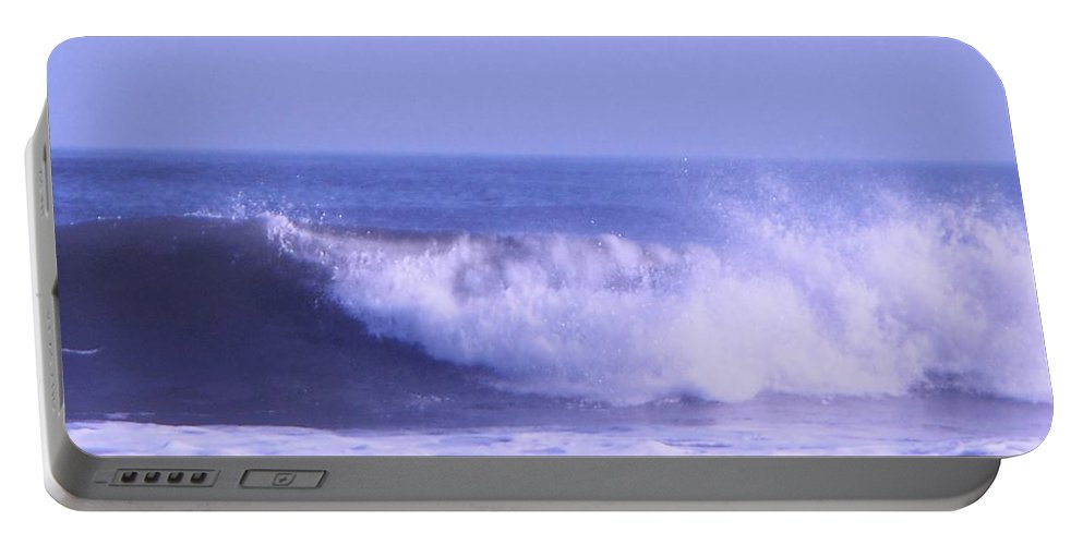 Wave Portable Battery Charger featuring the photograph Wave At Jersey Shore by Eric Schiabor
