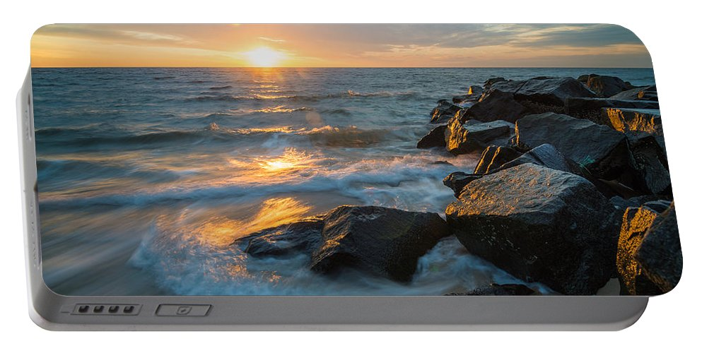 New Jersey Portable Battery Charger featuring the photograph Wave Break by Kristopher Schoenleber