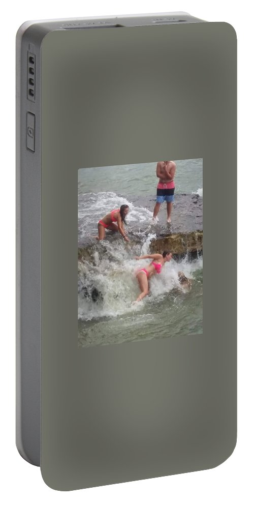 People Portable Battery Charger featuring the photograph Wave Crasher by Karla Hoffman