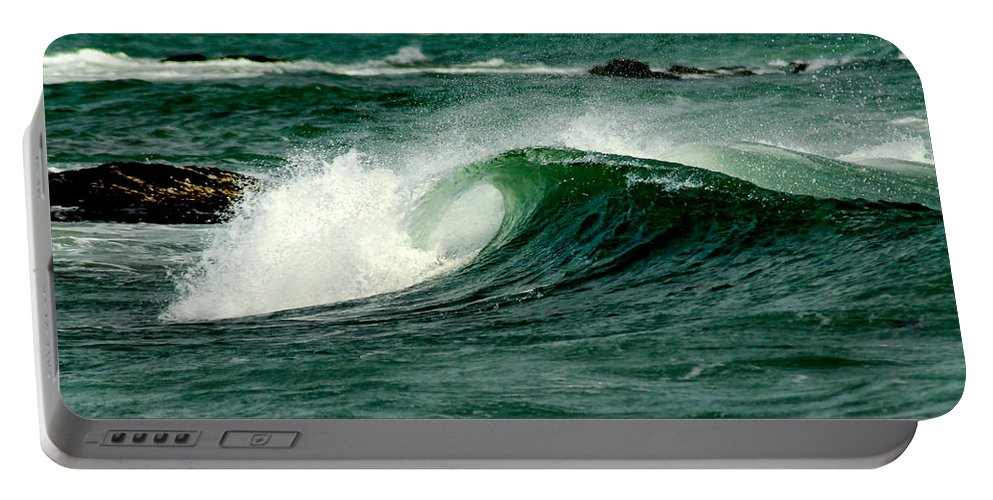 Water Portable Battery Charger featuring the photograph Wave Curl by Greg Fortier