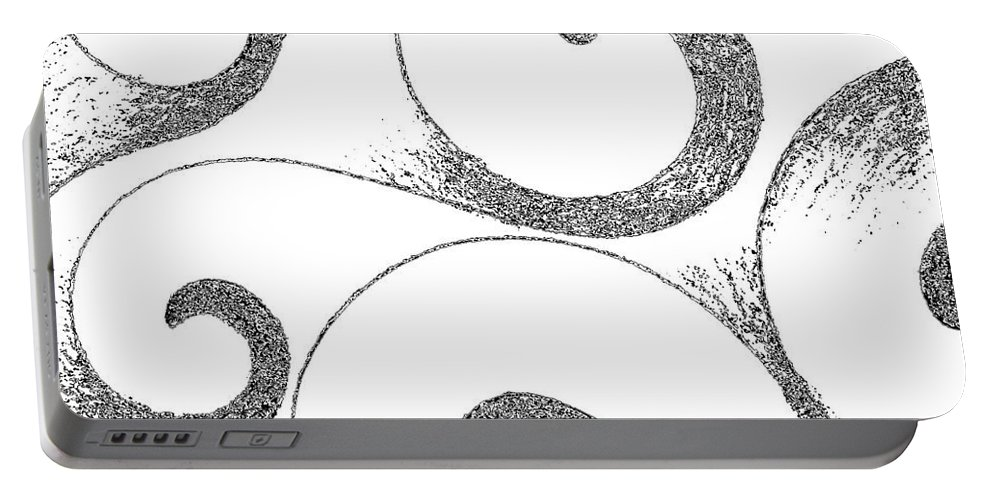 Waves Portable Battery Charger featuring the digital art Waves Altered In Black And White by Helena Tiainen
