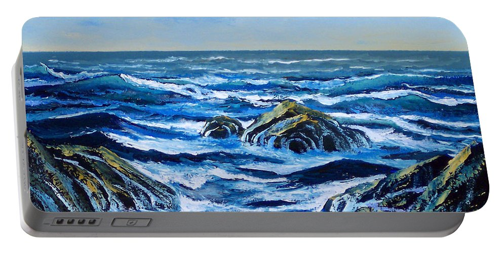 Ocean Portable Battery Charger featuring the painting Waves And Foam by Frank Wilson