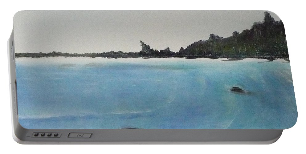 Waves Portable Battery Charger featuring the painting Waves And Pines by Monika Shepherdson