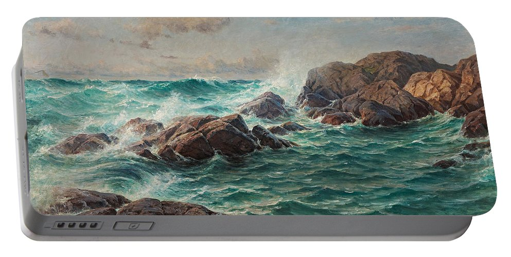 Berndt Lindholm Portable Battery Charger featuring the painting Waves by Berndt Lindholm