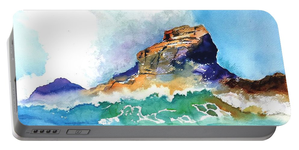 Waves Portable Battery Charger featuring the painting Waves Bursting On Rocks by Carlin Blahnik CarlinArtWatercolor
