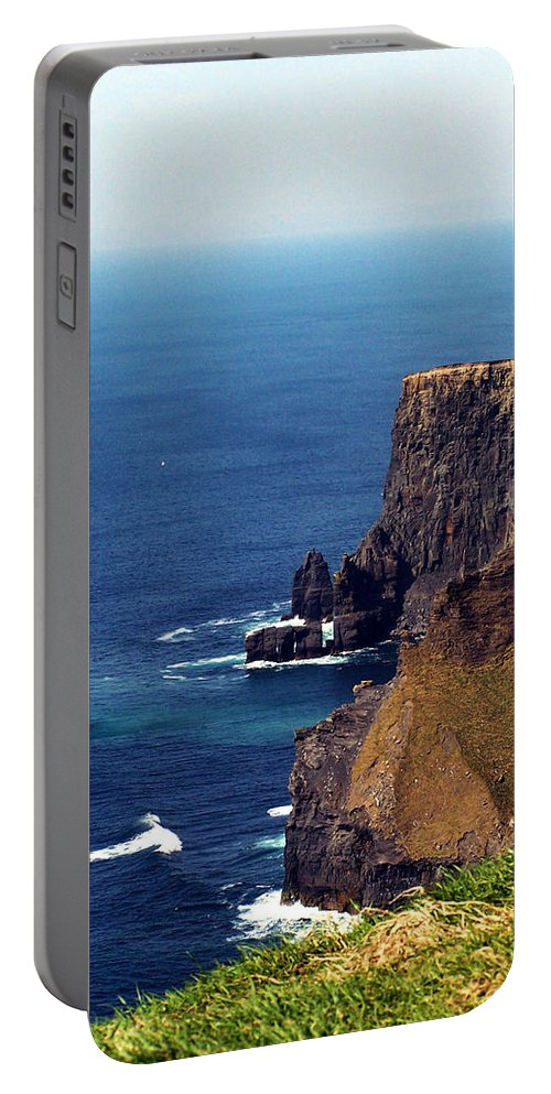 Irish Portable Battery Charger featuring the photograph Waves Crashing At Cliffs Of Moher Ireland by Teresa Mucha