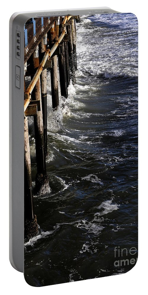 Clay Portable Battery Charger featuring the photograph Waves Hitting Santa Monica Pier by Clayton Bruster