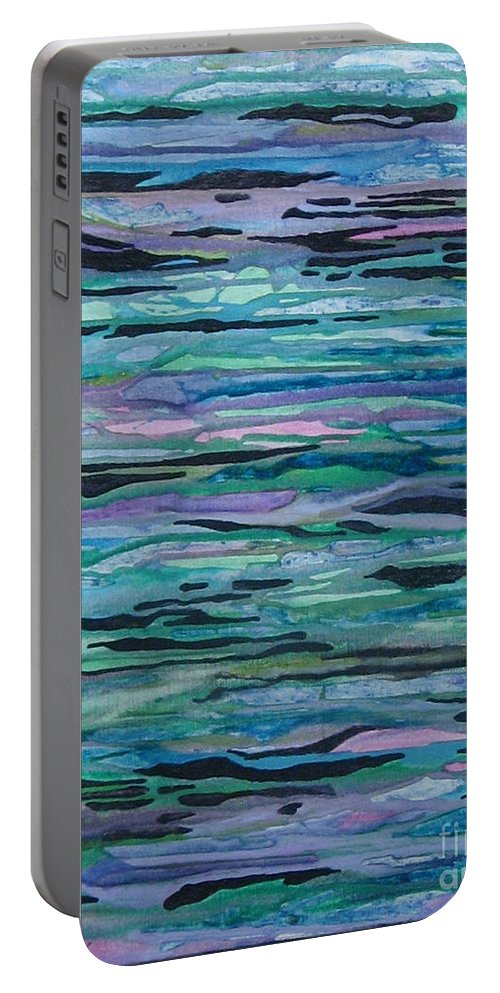 Abstract Portable Battery Charger featuring the photograph Waves by Nili Tochner