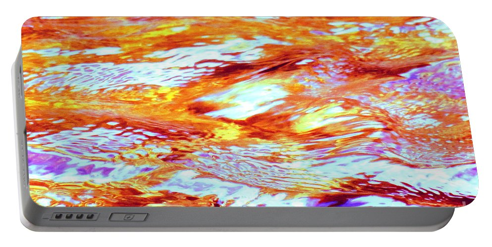 Abstract Portable Battery Charger featuring the photograph Waves Of Light by Sybil Staples