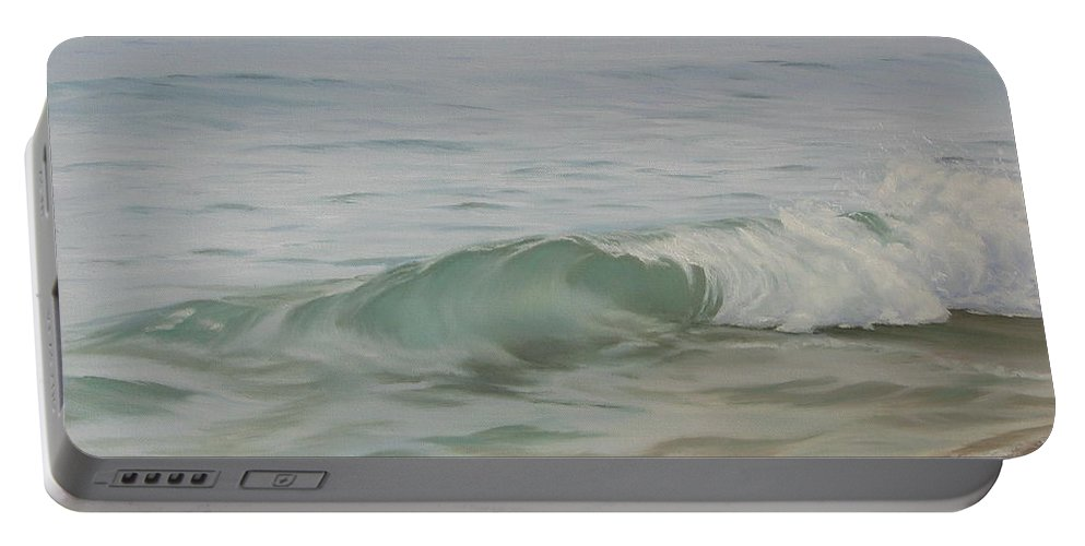 Seascape Portable Battery Charger featuring the painting Waves Out Of The Fog by Lea Novak