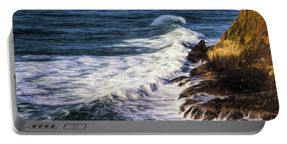 Jon Burch Portable Battery Charger featuring the photograph Waves Rocks And Birds by Jon Burch Photography