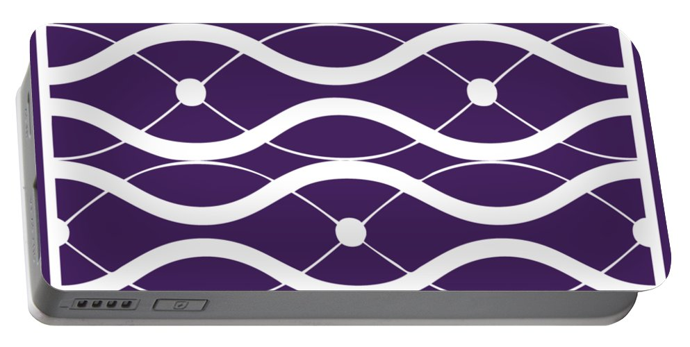 Waves Portable Battery Charger featuring the digital art Waves With Border In Purple by Custom Home Fashions