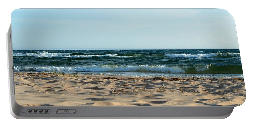 Michigan Portable Battery Charger featuring the photograph Wavy Day by Linda Kerkau