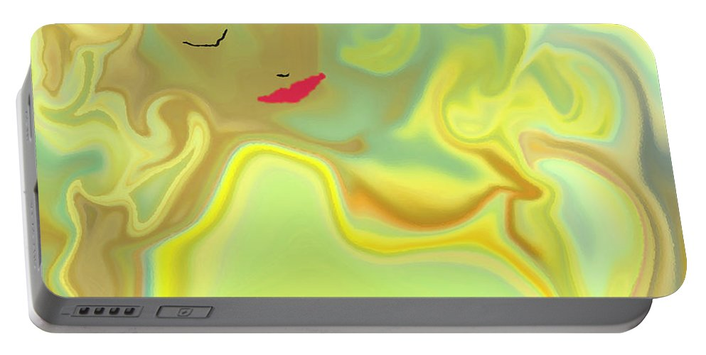 Portable Battery Charger featuring the digital art Wavy Hair And Red Lips by Ruth Palmer