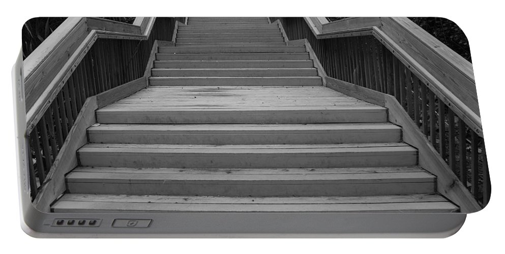 Black And White Portable Battery Charger featuring the photograph Wavy Stairs by Rob Hans