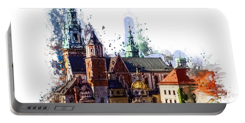 Wawel Portable Battery Charger featuring the digital art Wawel Castle Cracow by Justyna JBJart