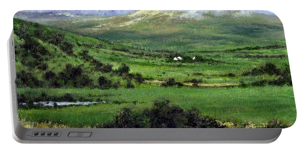 Landcape Portable Battery Charger featuring the painting Way To Ardara Ireland by Jim Gola