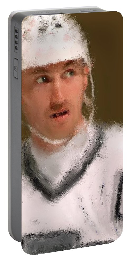Wayne Gretzky Portable Battery Charger featuring the painting Wayne Gretzky Kings Portrait by Jack Bunds
