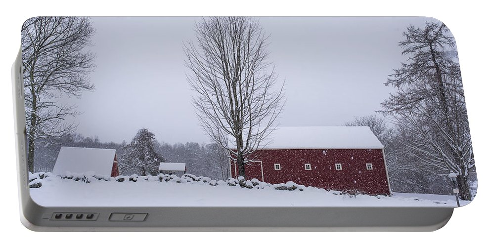 Wayside Portable Battery Charger featuring the photograph Wayside Inn Grist Mill Covered In Snow Storm 2 by Toby McGuire