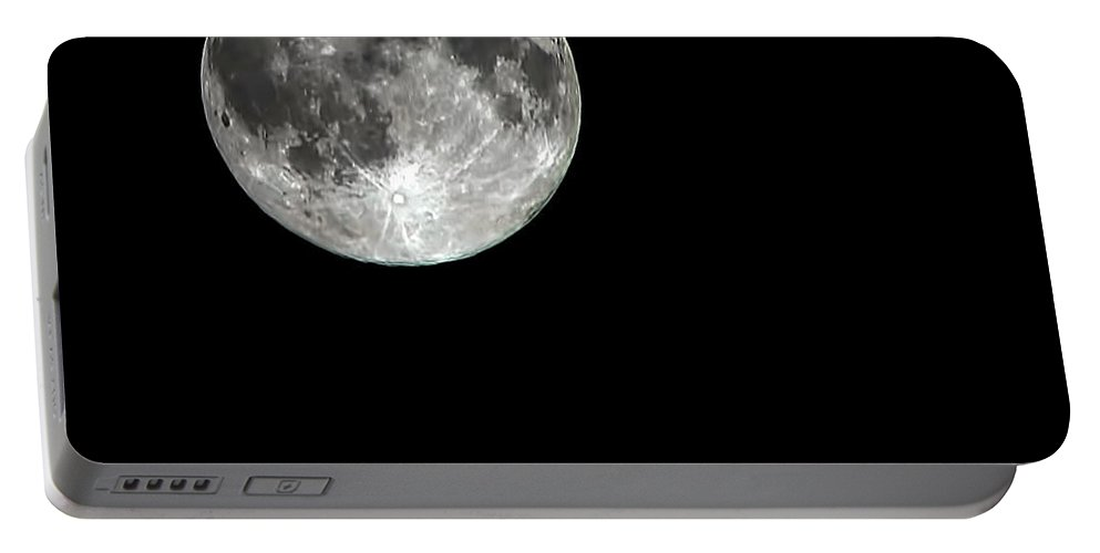 Moon Portable Battery Charger featuring the photograph We All See It by Daniel Valentin