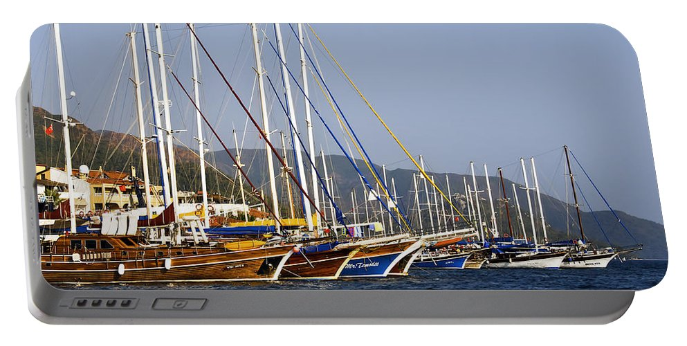 Boat Portable Battery Charger featuring the photograph We Are Sailing by Svetlana Sewell