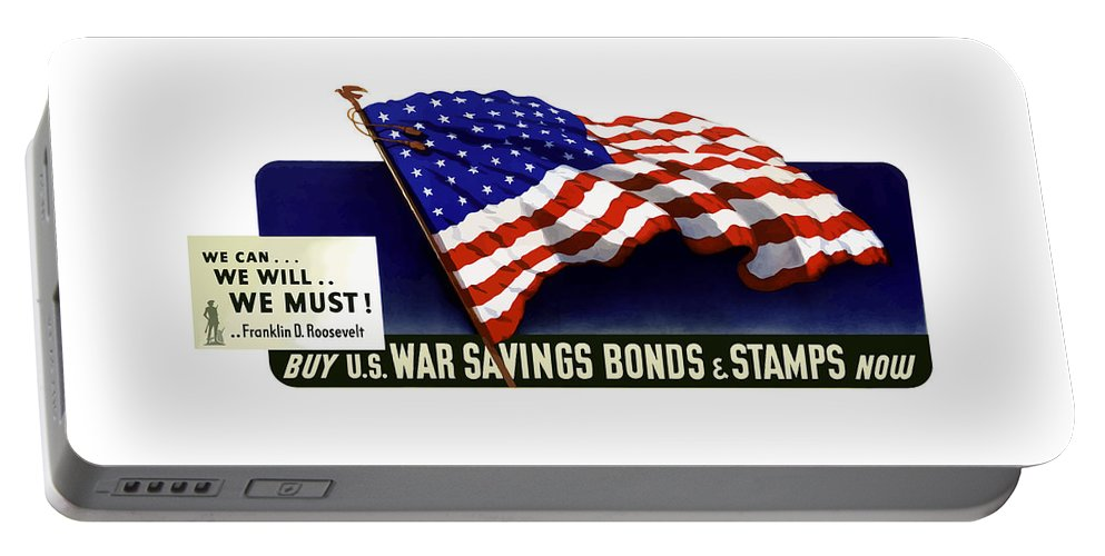 American Flag Portable Battery Charger featuring the painting We Can - We Will - We Must by War Is Hell Store