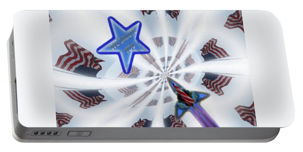 We Salute You Portable Battery Charger featuring the mixed media We Salute You by Mike Breau