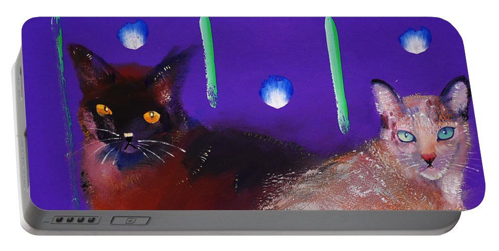 Cat Portable Battery Charger featuring the painting We Two Cats by Charles Stuart
