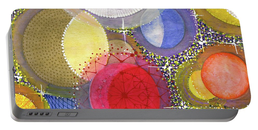 Moon Portable Battery Charger featuring the painting We Will Have Many Moons #2 by Kym Nicolas