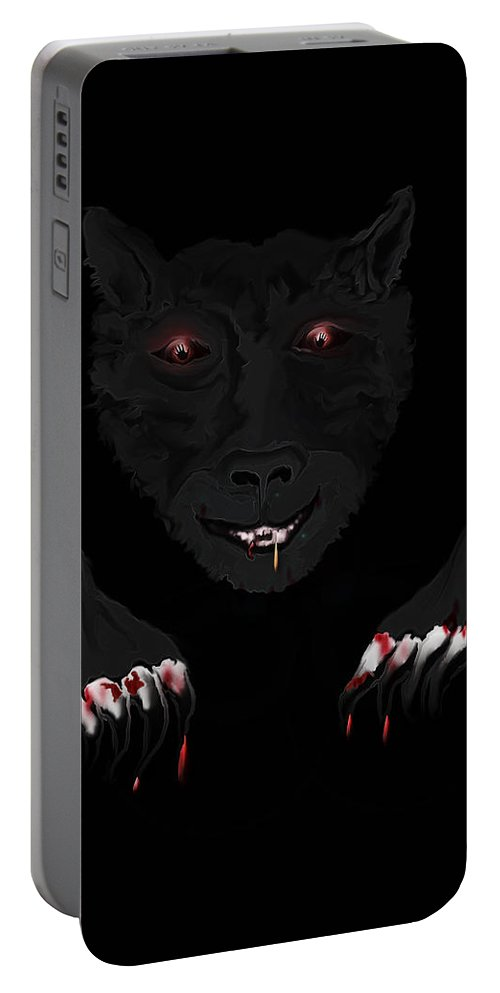 Wearwolf Wolf Scary Blood Eyes Haunting Black Claws Nails Fangs Portable Battery Charger featuring the digital art Wearwolf by Andrea Lawrence