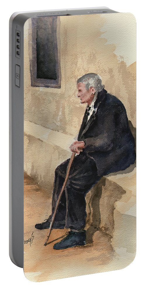 Old Portable Battery Charger featuring the painting Weary by Sam Sidders