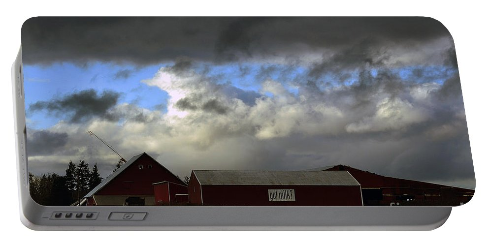 Clay Portable Battery Charger featuring the photograph Weather Threatening The Farm by Clayton Bruster