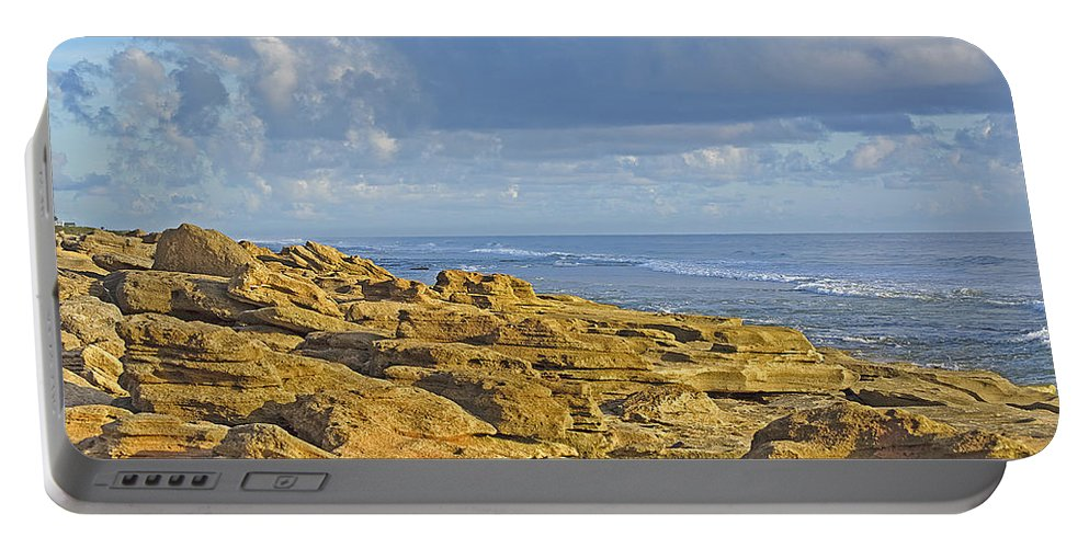 Rocks Portable Battery Charger featuring the photograph Weathered Coquina Ocean Rocks by Kenneth Albin
