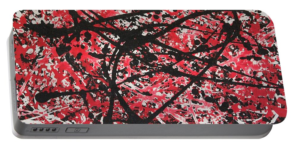 Abstract Acrylic Paint Portable Battery Charger featuring the painting Web Of Fire by Jane Gannon