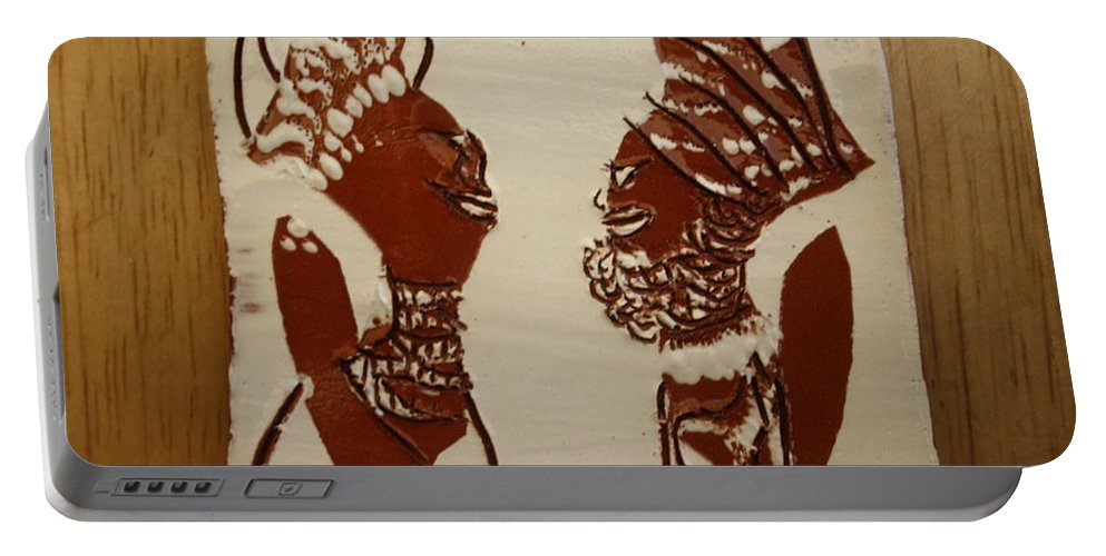 Jesus Portable Battery Charger featuring the ceramic art Wedded Bliss - Tile by Gloria Ssali