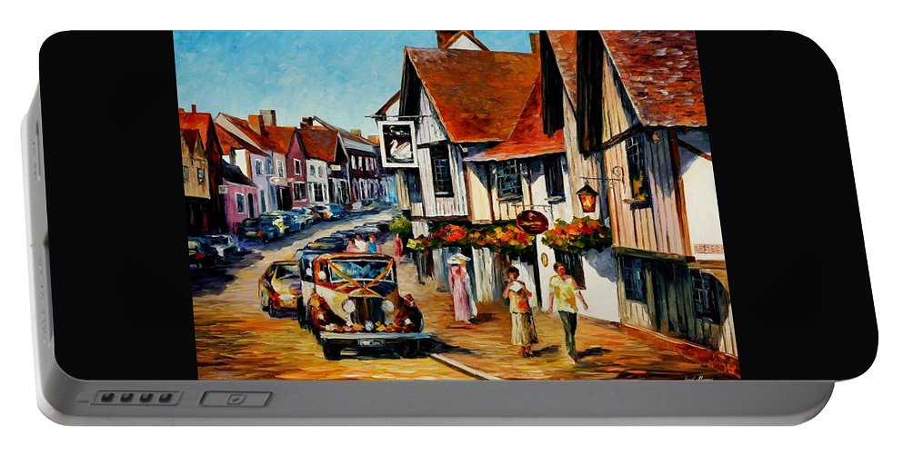 Afremov Portable Battery Charger featuring the painting Wedding Day In Lavenham - Suffolk England by Leonid Afremov