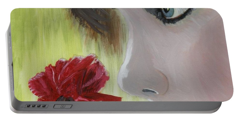 Romance Portable Battery Charger featuring the painting Wedding Rose by J Bauer