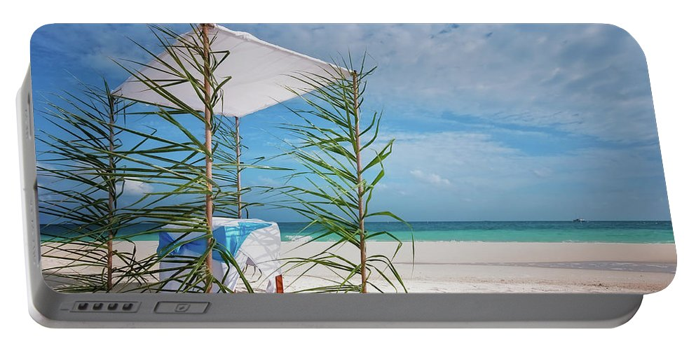 Jenny Rainbow Fine Art Photography Portable Battery Charger featuring the photograph Wedding Tent On The Beach by Jenny Rainbow
