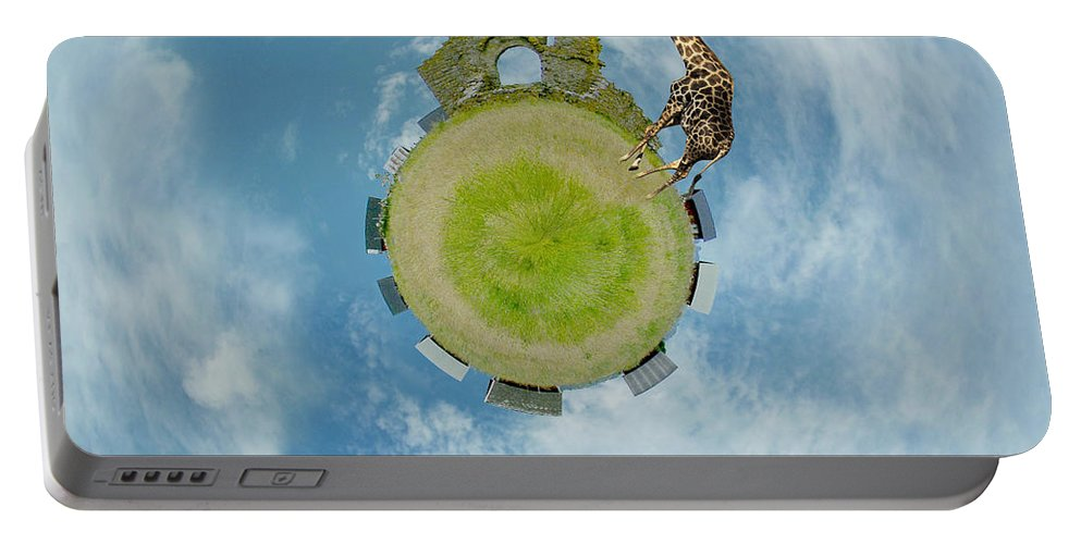 Wee Planet Portable Battery Charger featuring the digital art Wee Chapel Ruins by Nikki Marie Smith