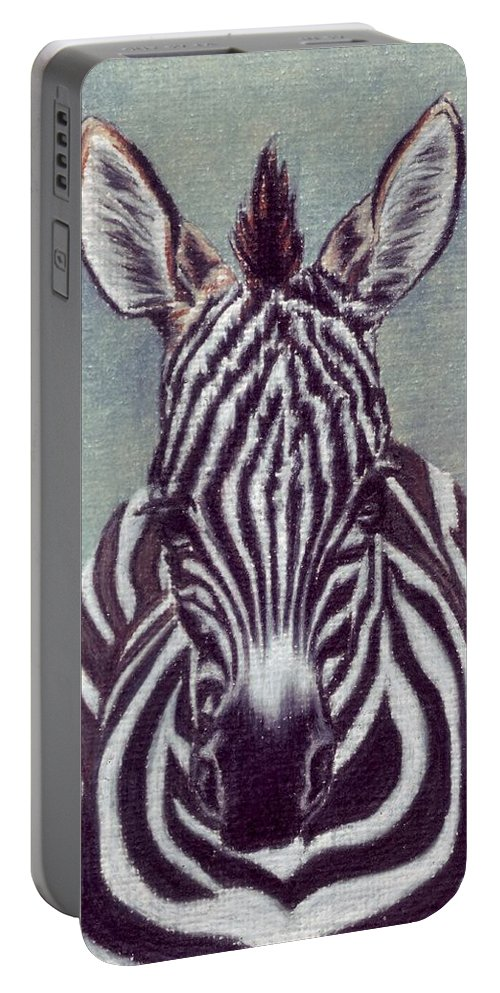 Zebra Portable Battery Charger featuring the drawing Wee Zeeb by Kristen Wesch