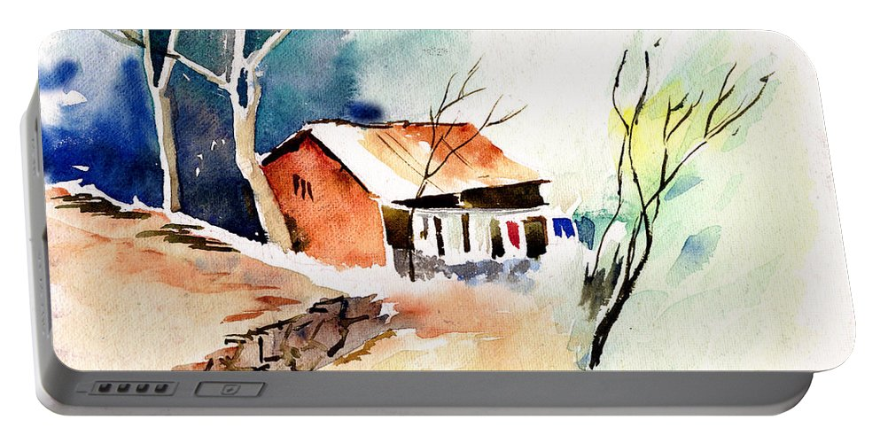 Nature Portable Battery Charger featuring the painting Weekend House by Anil Nene