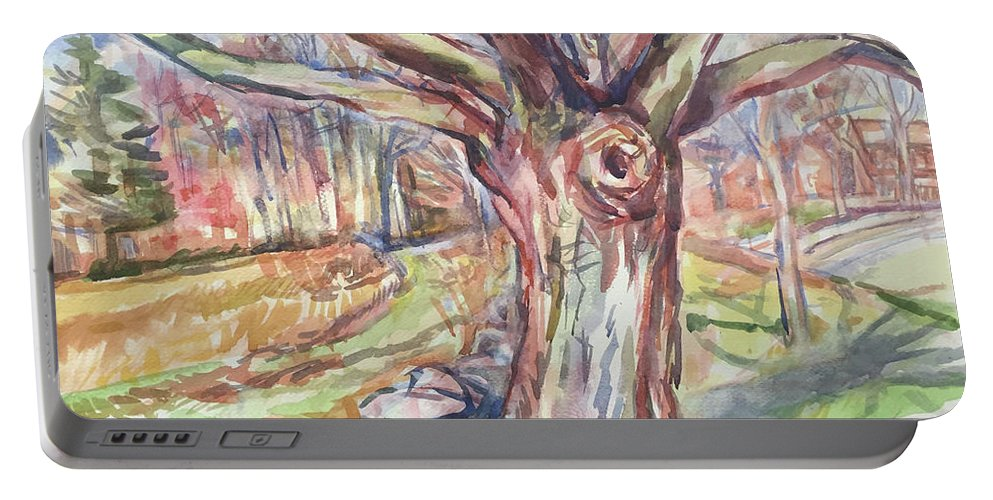 Watercolor Portable Battery Charger featuring the painting Weir Farm Oak Tree by Abbie Rabinowitz