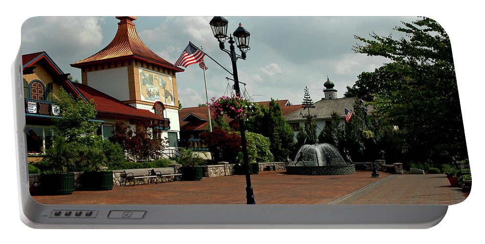 Usa Portable Battery Charger featuring the photograph Welcome Center At Frankenmuth by LeeAnn McLaneGoetz McLaneGoetzStudioLLCcom