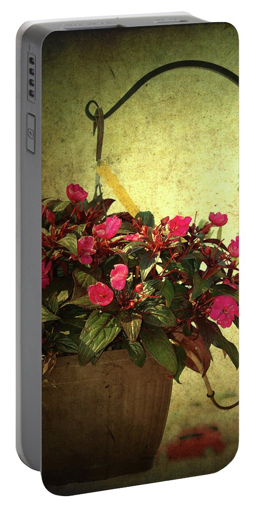 Flower Pot Portable Battery Charger featuring the photograph Welcome Home by Susanne Van Hulst