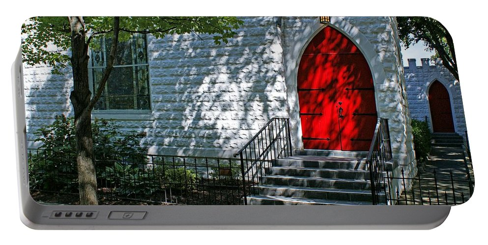 Church Portable Battery Charger featuring the photograph Welcome by Sandy Keeton