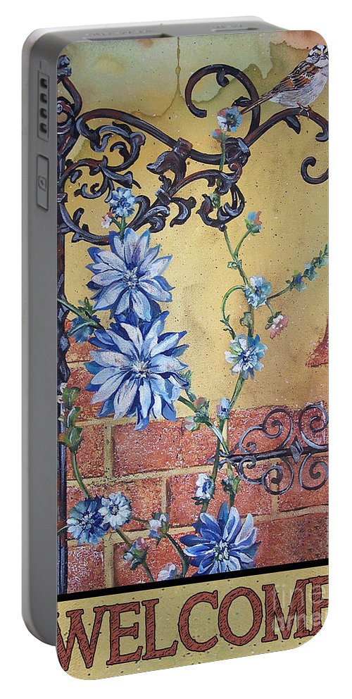 Jean Plout Portable Battery Charger featuring the painting Welcome Sparrow-jp2781 by Jean Plout