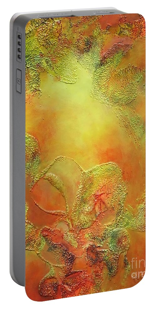 Abstract Portable Battery Charger featuring the painting Welcome To Heaven by Claire Gagnon
